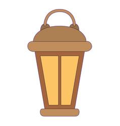 vintage lantern with purple contour vector image