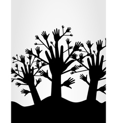 wood of hands vector image vector image