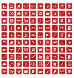 100 calculator icons set grunge red vector