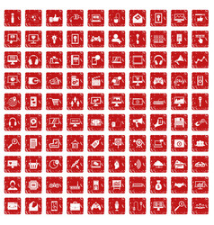 100 web and mobile icons set grunge red vector