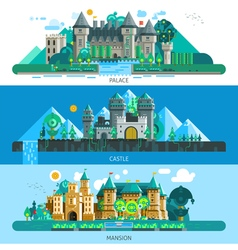 Antique castles horizontal banners vector