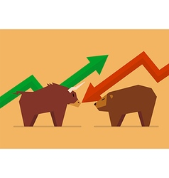 Bull vs bear symbol of stock market vector