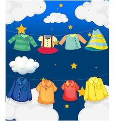 Different hanging clothes vector image