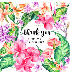Vintage floral tropical thank you card vector