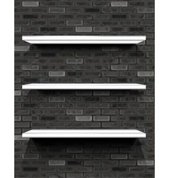 White shelves on brick wall vector image