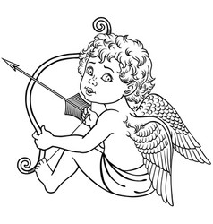 Sitting cupid black and white vector