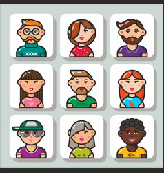 People face icons 1 vector