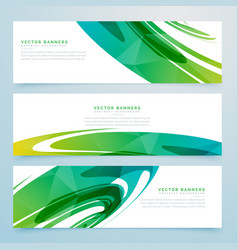 Abstract green banners collection vector
