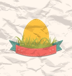 Vintage label with Easter egg vector image