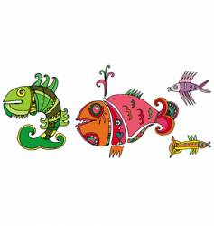 cute decorative fishes vector image