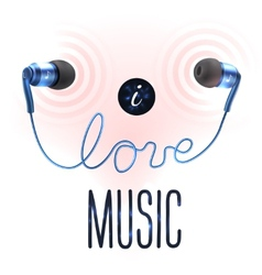 Headphones with love letters vector