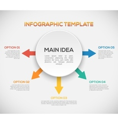 Infographics template with arrows and 3D circle vector image