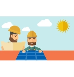 Man putting a solar panel on the roof vector