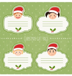 Christmas gift tags with children smiles vector