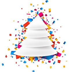 Paper christmas tree over confetti vector
