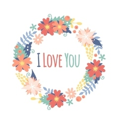 Vintage valentine day decoration flowers vector