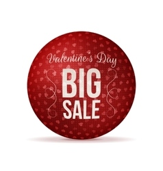 Valentines day big sale red realistic round banner vector