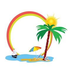 Beauty beach an palm tree vector