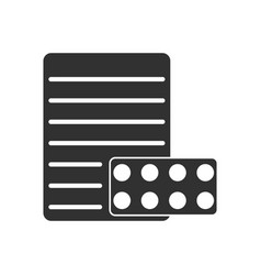 Black icon on white background pills and a vector