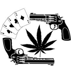 cards hemp and two pistols stencil vector image vector image