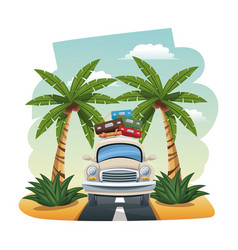 Cartoon car with luggage on roof tropical road vector