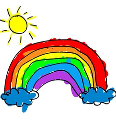 Child rainbow vector image