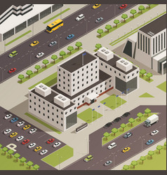 city government buildings isometric composition vector image vector image