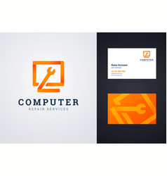 Computer repair service logo and business card vector