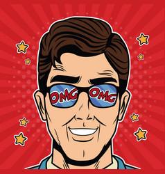 Cool businessman pop art cartoon vector