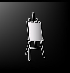 Easel sign gray 3d printed icon on black vector