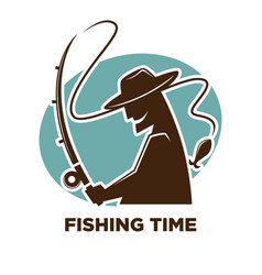 fishing time icon for fisherman club or fishery vector image