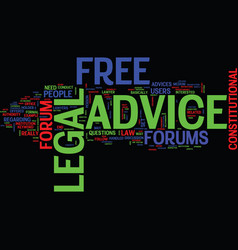 Free legal advice forum text background word vector