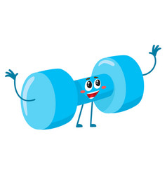 Funny dumbbell character with smiling human face vector