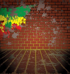 Grunge room with brick wall vector