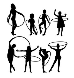 happy hula hoop activity silhouettes vector image vector image