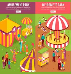 isometric amusement park banners vector image