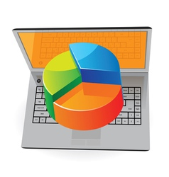 Laptop and pie-chart vector image
