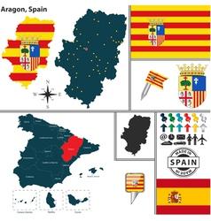 Map of Aragon vector image vector image