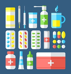 Medicines isolated on dark background vector image vector image