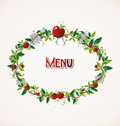Red apple wreath vector