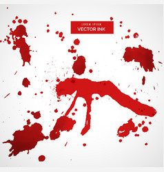 red blood stain splatter set vector image