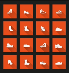 Shoes icons long shadow vector image vector image