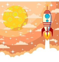 Silhouette of a rocket on the moon background vector