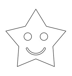 Smiling star black color path icon vector
