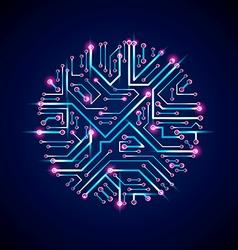 Sparkling circuit board circle digital vector