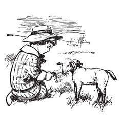 The boy and the sheep vintage vector