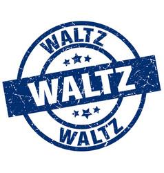 Waltz blue round grunge stamp vector