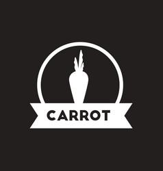 White icon on black background carrot vector