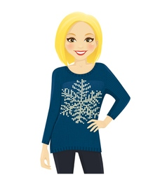 Woman in holiday sweater vector image vector image