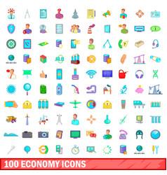 100 economy icons set cartoon style vector image